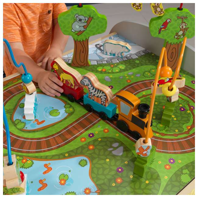 17508 KidKraft Kids Toddler Wooden Zoo Train Play Table Activity Station with Storage 4
