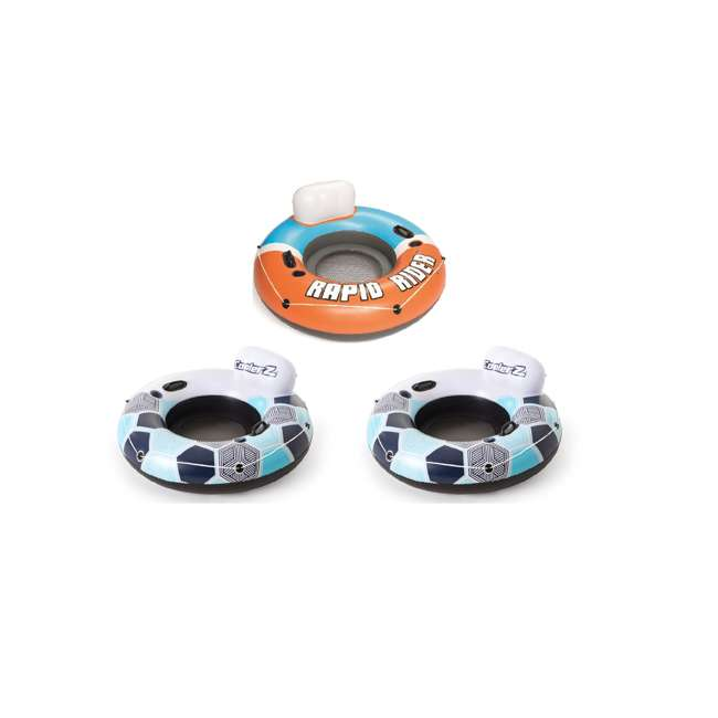 43116E-BW-NEW + 2 x 15496-BW Bestway CoolerZ Inflatable Orange River Tube & CoolerZ Blue River Tube (2 Pack)