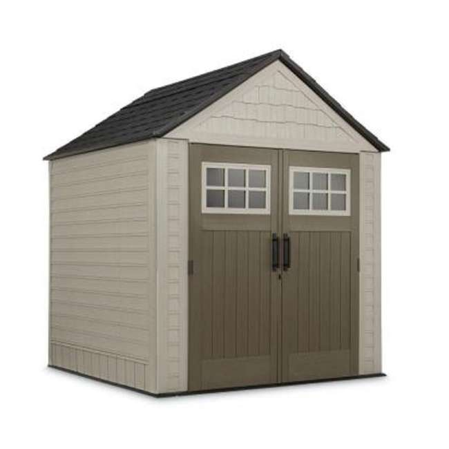 2035896 + 2024654 + 2024656 + 2024651 Rubbermaid 7' x 7' Big Max Storage Shed with Utility & Handle Hook & Accessories 1
