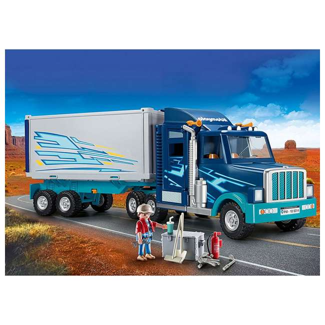 9314 Playmobil 9314 Big Rig w/ Action Figure and Semi Truck & Trailer Play Set, Blue 2