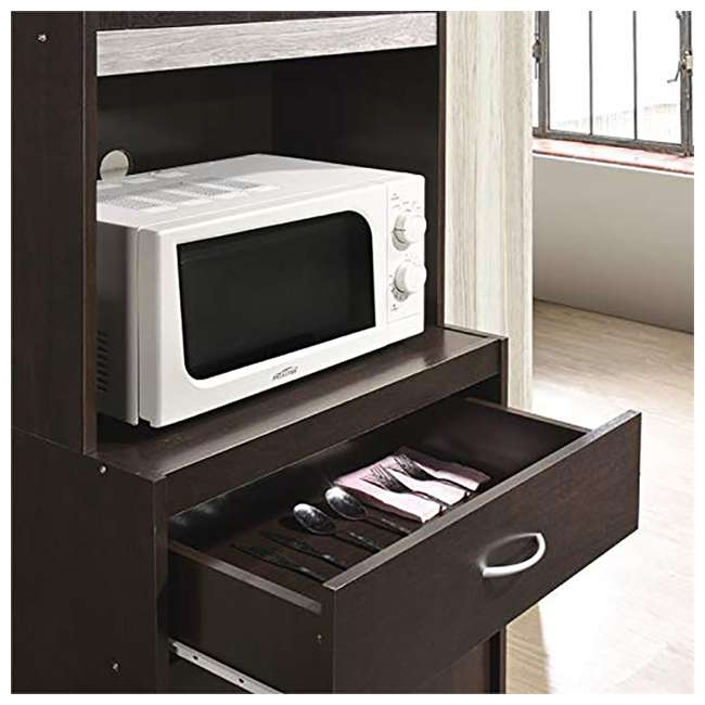 """HIKF96 CHOCO-GREY Hodedah Import 70"""" Tall Top/Bottom Enclosed Kitchen Cabinet w/ Drawer, Chocolate 4"""