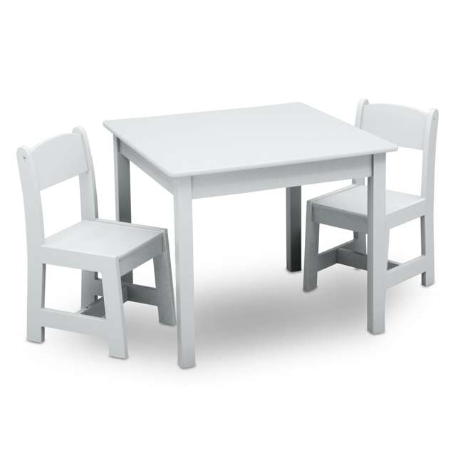 TT89601GN-130 Delta Children MySize Kids Wooden Play Activity Table & Chairs Set, Bianca White