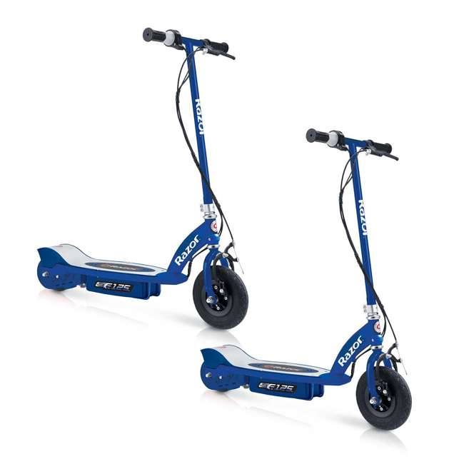 13111141 Razor E125 Motorized Rechargeable Electric Scooter, Blue (2 Pack)
