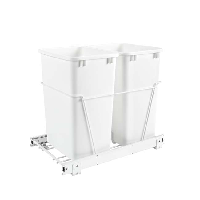 RV-18PB-2 S Rev-A-Shelf RV-18PB-2 S Double 35 Quart Pull-Out Kitchen Waste Containers, White