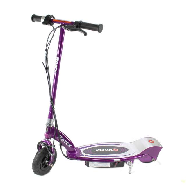 13111250 + 2 x 97778 Razor E100 Electric Scooters, Purple (2 Pack) + Helmets 3