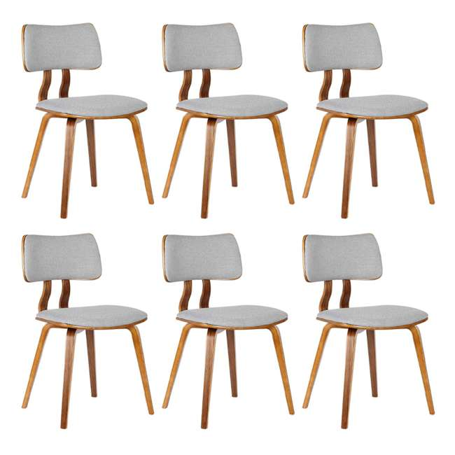 6 x LCJASIWAGRAY Armen Living Jaguar Mid Century Walnut Wood Dining Chair, Gray (6 Pack)