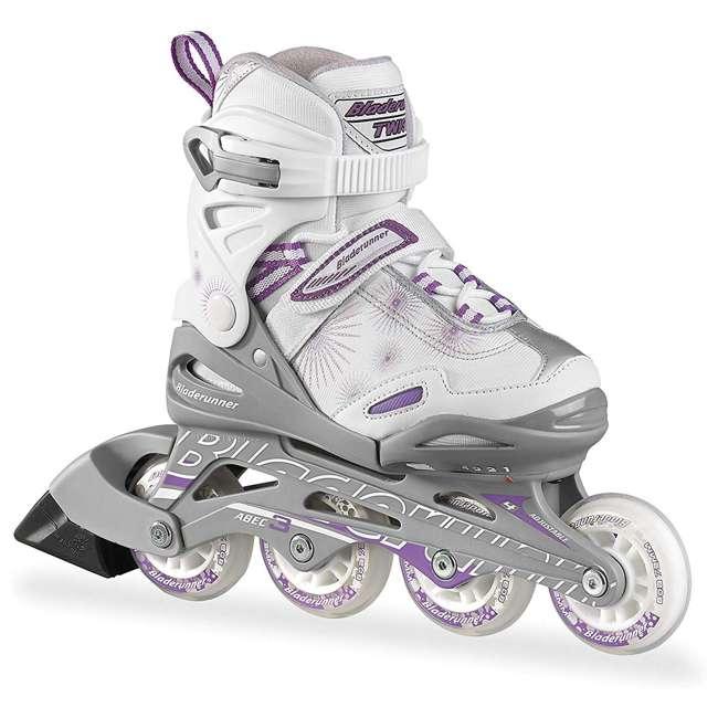 0T502300240-1 Bladerunner Twist Girls Adjustable Kids Junior Inline Skates, Silver & Purple