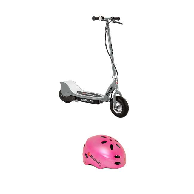 13116312 Razor E325 Electric Battery Ride On Kids Scooter and V17 Youth Sport Helmet