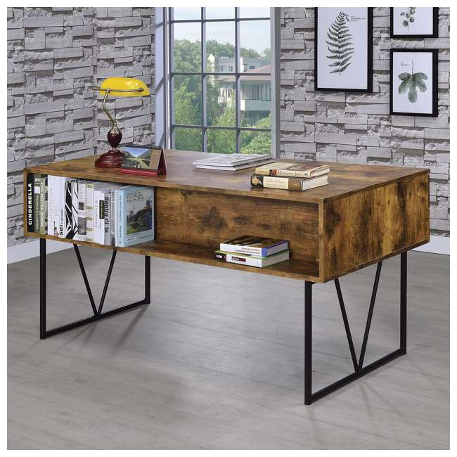 CH-800999-U-B Coaster Home Furniture Barritt 4 Drawer Writing Desk, Antique Nutmeg (Used) 4