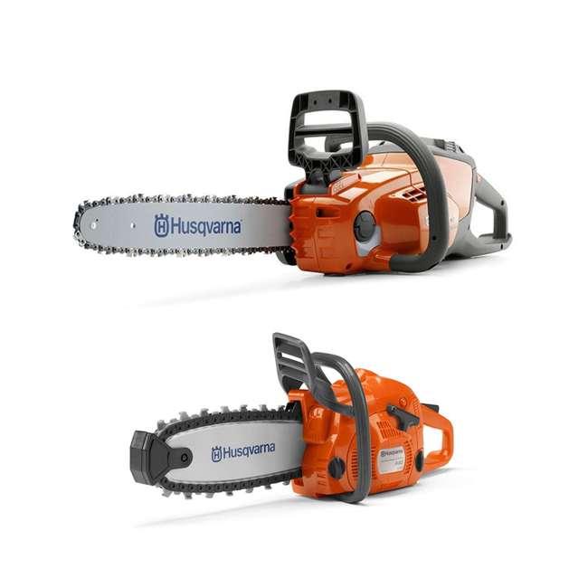 HV-CS-967098102 + HV-TOY-522771104 Husqvarna 14-Inch Brushless Chainsaw and 440 Toy Childrens Chainsaw, Orange