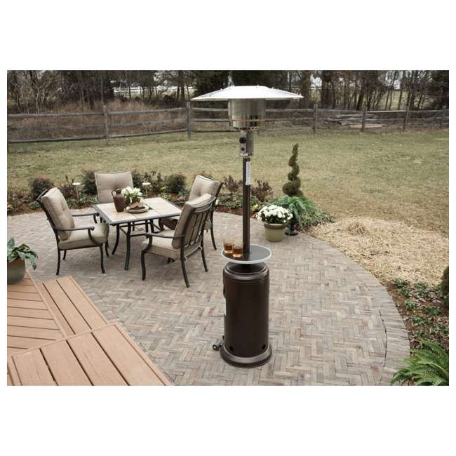 HLDS01-CGT-U-C AZ Patio Tall Propane Wheeled Patio Heater w/ Table, Hammered Bronze (For Parts) 1