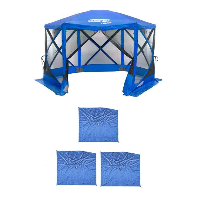 CLAM-ESS-14203 + CLAM-WP-ESS-14205 Clam Quick Set Tailgating Shelter + Wind & Sun Panels (3 pack)