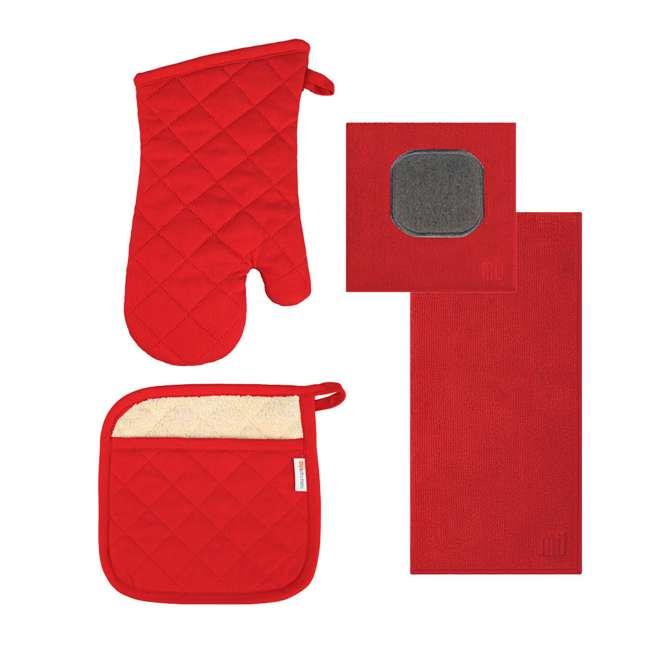 9345-0906 MUkitchen 4 Piece Kitchen Dish Cloth, Towel, and Oven Mitt Set, Red