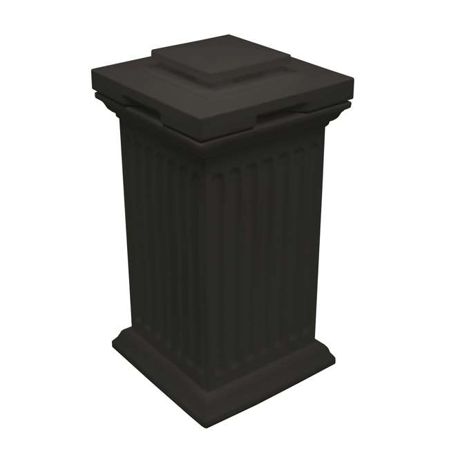 SV-COL-BLK Good Ideas Savannah Outdoor Patio Column 30 Gallon Storage and Waste Bin, Black