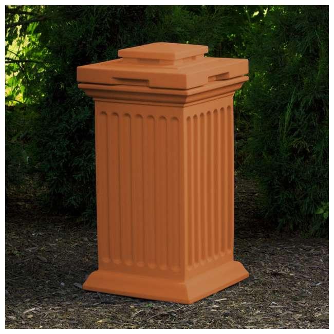 SV-COL-TC Good Ideas Savannah Outdoor Column 30 Gallon Storage and Waste Bin, Terra Cotta 3