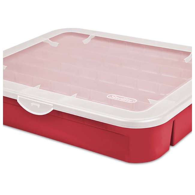 12 x 19796606 Sterilite Adjustable Ornament Storage Box, Red (12 Pack) 3