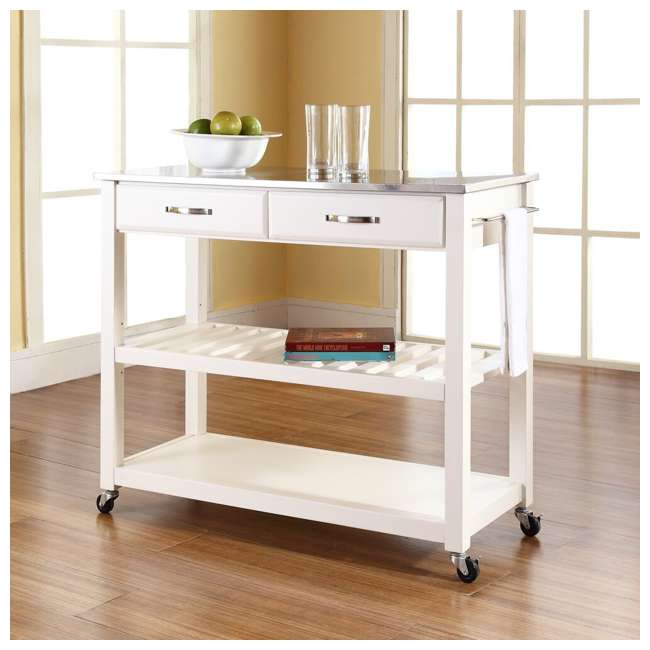 KF30052WH Crosley Stainless Steel Top Kitchen Cart with Drawers, White 4
