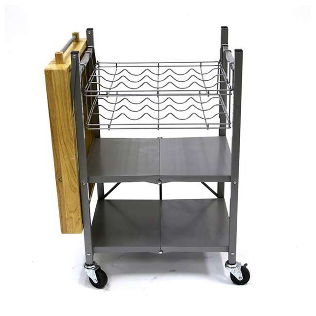 RBT-04 + R-KC-01 Origami Kitchen Island Bar Cart with Double Wine Rack 9