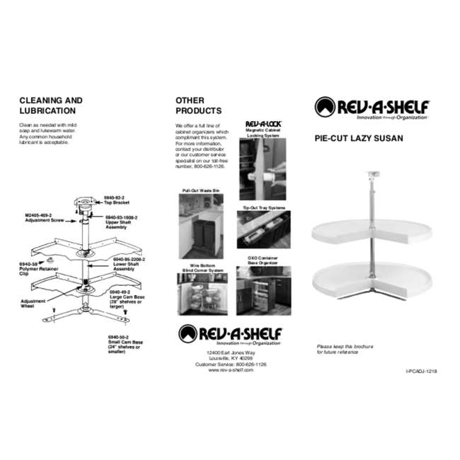6942-28-11-52 Rev-A-Shelf 6942-28-11-52 28 Inch White Polymer Pie Cut 2 Shelf Lazy Susans 4