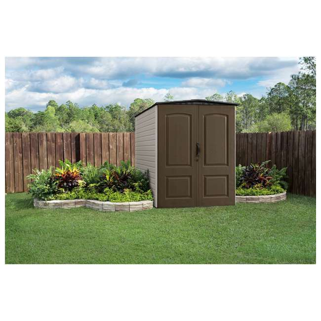 1967674 + 2024654 + 2024656 + 2024651 Rubbermaid 5'x6' Outdoor Gardening & Tools Vertical Storage Shed and Accessories 4
