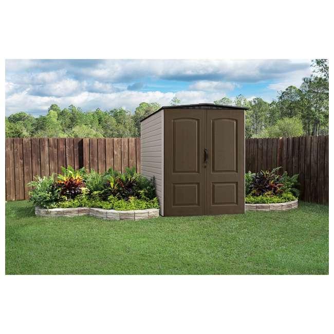 1967674 + 2032730 + 2024654 + 2024651 + 2024656  Rubbermaid 5x6 Ft Outdoor Garden Tool Vertical Storage Shed & Shelf Accessories 4