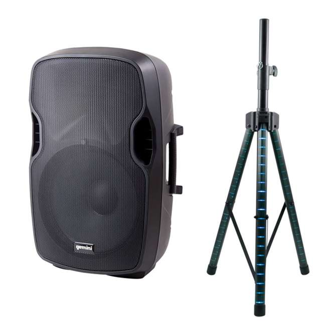 "AS-15P + STL100 Gemini AS-15P Professional Portable 15"" Active Speaker & LED 68"" Speaker Stand"