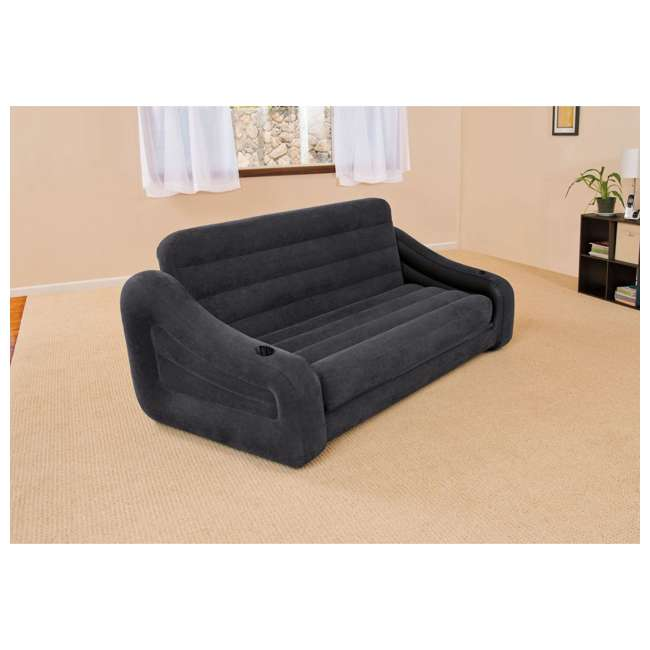 68566EP Intex Inflatable Queen Size Pull Out Futon Sofa Couch Sleep Away Bed, Dark Gray 1