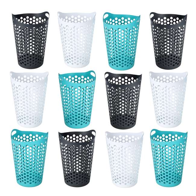 12 x FBA32518 Ezy Storage Flexi 15 Gallon Plastic Flex Laundry Basket Clothes Hamper (12 Pack)