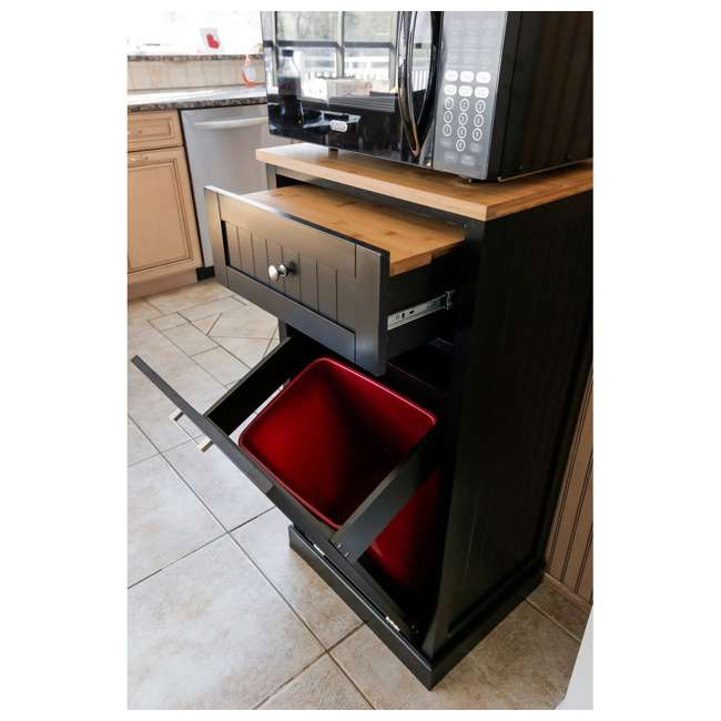 SpaceMaster Microwave Kitchen Cart with Hideaway Trash Can Holder