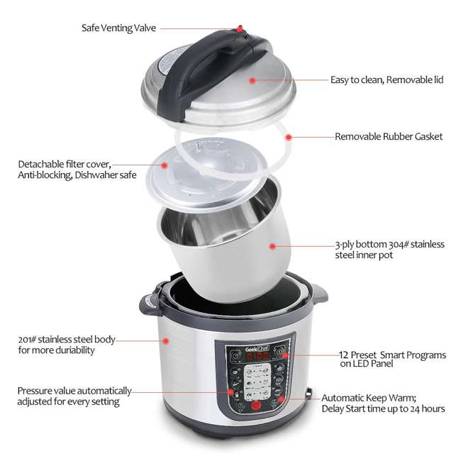 YBW60-GlassLid Geek Chef YBW60 11 in 1 Multi Function 6 Quart Slow and Pressure Cooker (2 Pack) 3