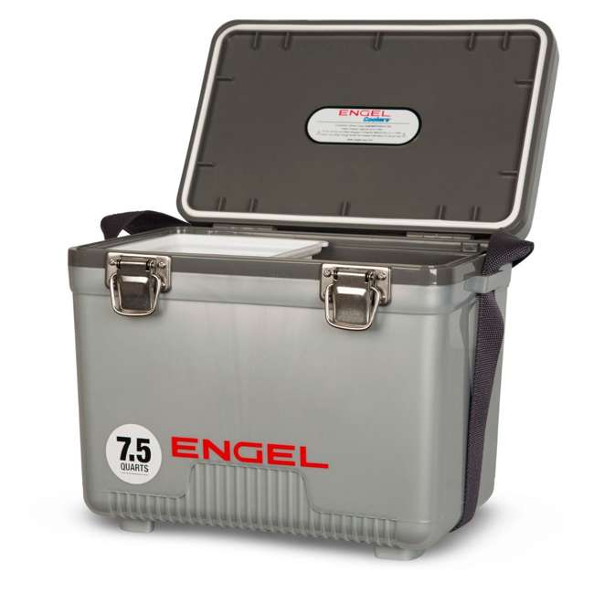 UC7S Engel 7.5-Quart EVA Gasket Seal Ice and DryBox Cooler with Carry Handles, Silver 1