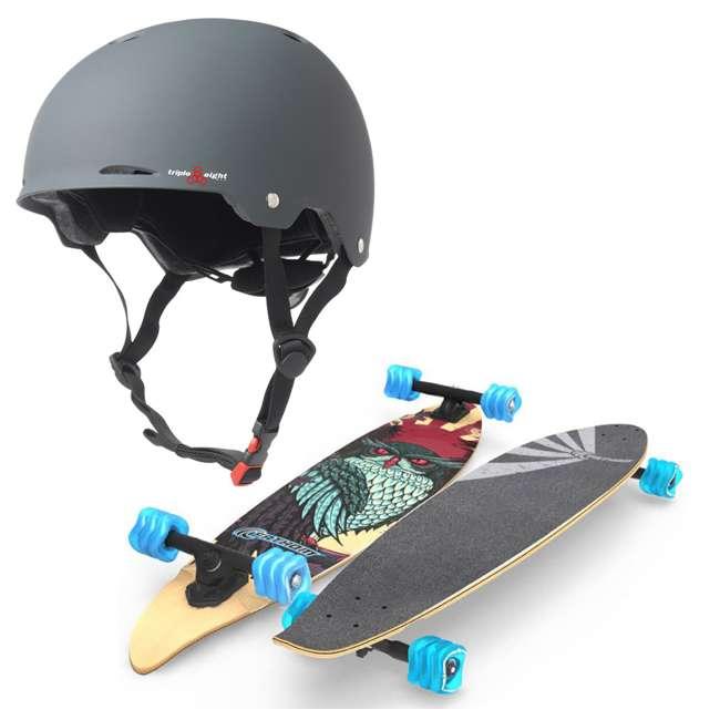 "T8-3307 + 08057-SHARK Triple 8 Gotham Bike & Skate Helmet, S/M + Fathom Shark Wheel Pintail 39"" Longboard, Stinkini"
