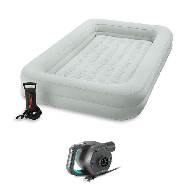 66643E + 66810EP Intex Kids Inflatable Raised Frame Travel Air Bed w/ Hand Pump & Electric Pump