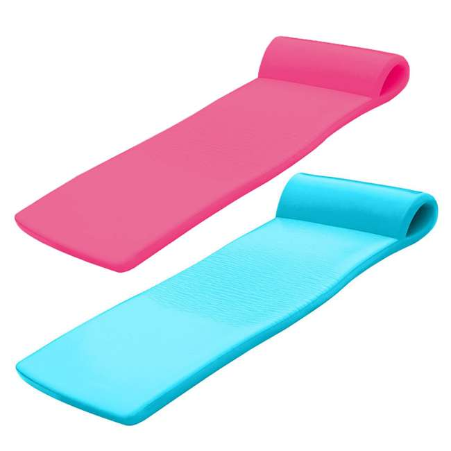 8020035 + 8020031 TRC Recreation Super Soft Sunsation Pool Lounger Mat, Pink and Tropical Teal