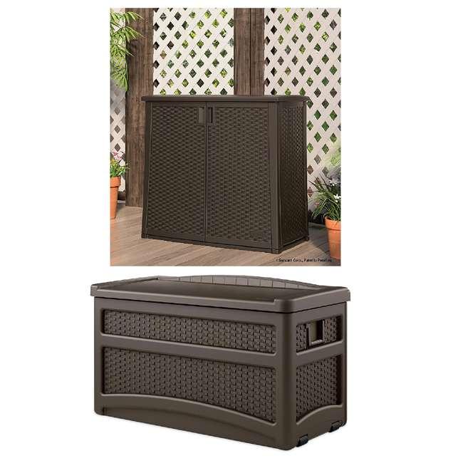 BMOC4100 + DBW7500 Suncast Storage Entertaining Station w/Shelf & Patio Storage Chest w/Seat