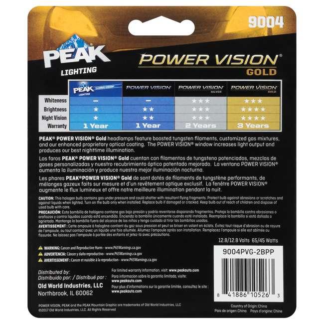 9004PVG-2BPP PEAK Lighting Power Vision Gold 9004 HB1 65W Brightest White Headlight Bulbs 5