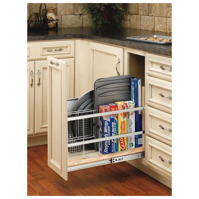 447-BCBBSC-8C Rev-A-Shelf 447-BCBBSC-8C 8 Inch Kitchen Pull Out Tray Divider Cabinet Organizer 5