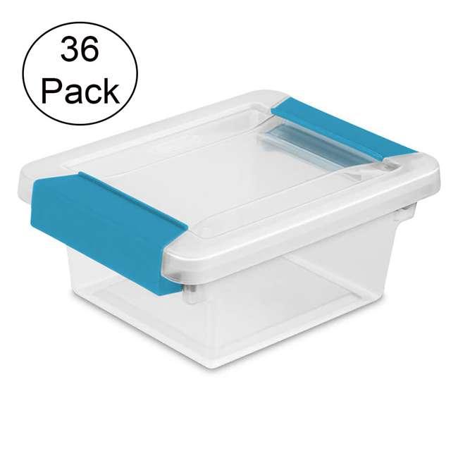 36 x 19698606 Sterilite Mini Clip Box Clear w/ Blue Aquarium Latches (36 Pack)