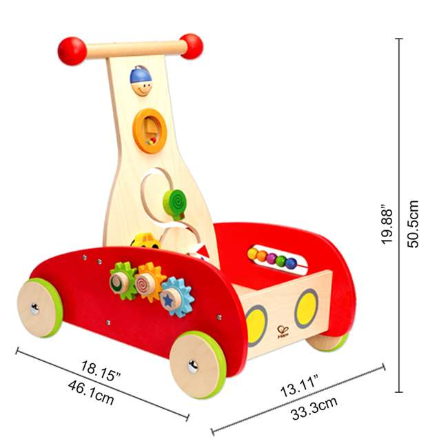 HAP-E0370-U-A Hape Toys Toddler Baby Push & Pull Toy Wonder Walker Cart with Wooden Blocks (Open Box) 2