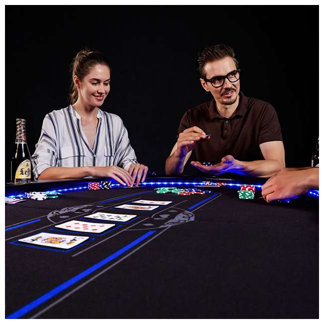 ARC084_017P Lancaster 10 Player Poker Game Table with Cup Holders, LED lights 4