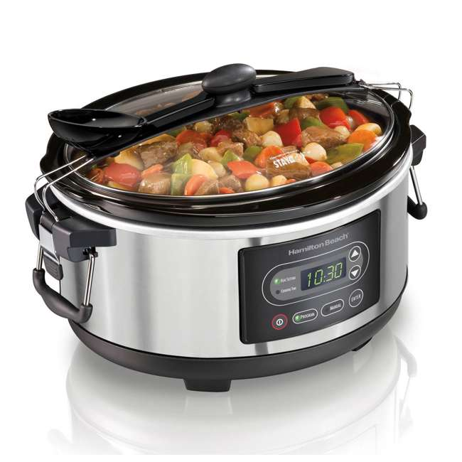 33957 + SLOWCOOK150 Hamilton Beach 5 Quart Programmable Stay or Go Slow Cooker & 150 Recipe Cookbook 2