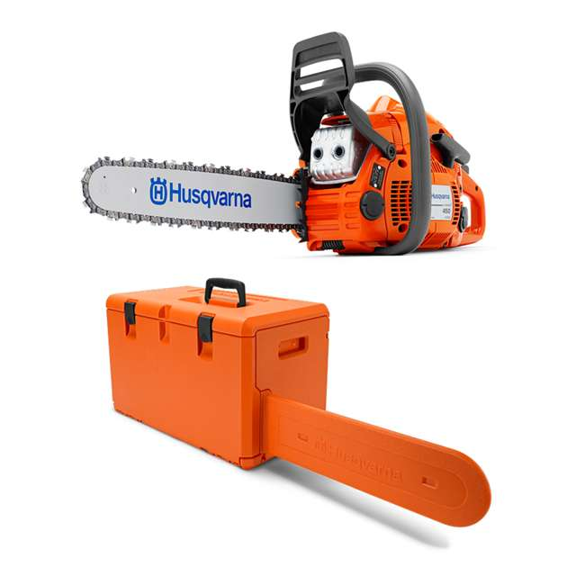 HV-CS-967651104 Husqvarna 450 II E Series 50.2cc 18 Inch Gas Powered Chainsaw with Powerbox Case