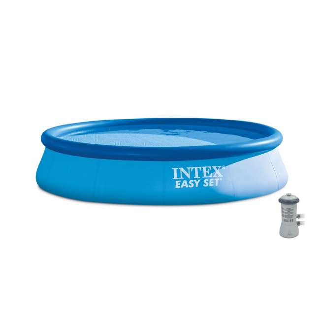 "28141EH-U-B Intex 13' x 32"" Easy Set Above Ground Swimming Pool & 530 GPH Filter Pump (Used) 4"