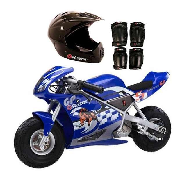 15120040 + 97775 + 96785 Razor Blue Pocket Rocket With Black Sport Helmet And Pad Set
