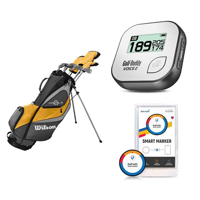WGGC43000 + GB7-VOICE2-GREY + PGSMGps Wilson Men's Golf Club Set + Golf Buddy GPS Range Finder + Golfwith Smart Marker