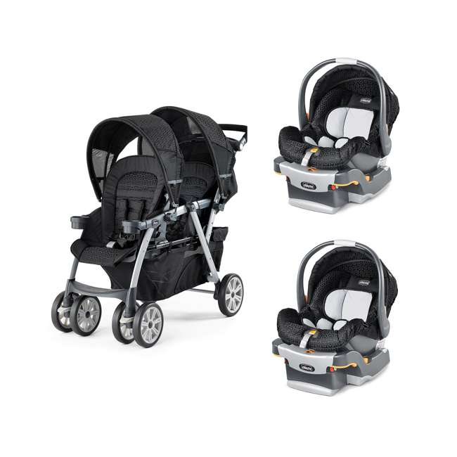 chicco cortina together travel system double stroller keyfit infant car seats chi 0707904350. Black Bedroom Furniture Sets. Home Design Ideas