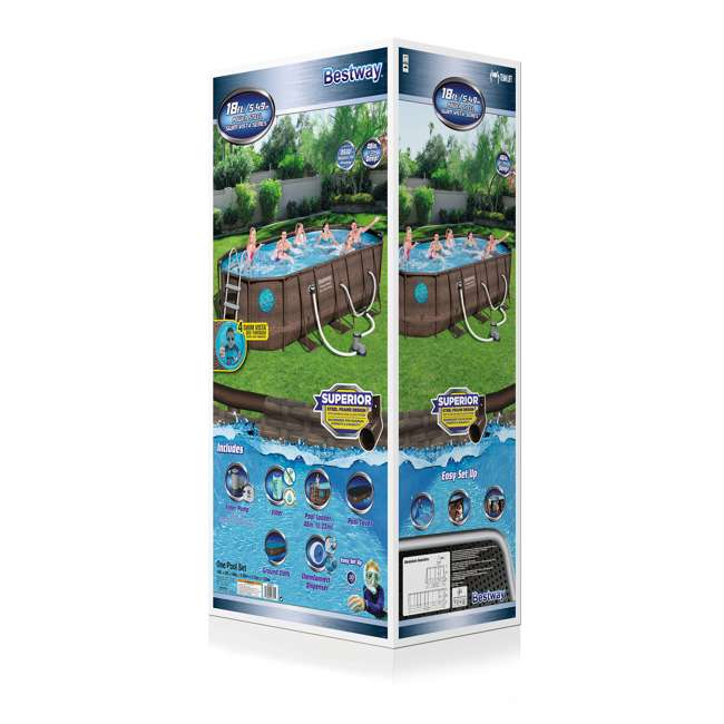 56717E-BW + 58234E-BW Bestway Power Swim Vista 18 x 9 x 4 Foot Pool Set with Pump & Maintenance Kit 9
