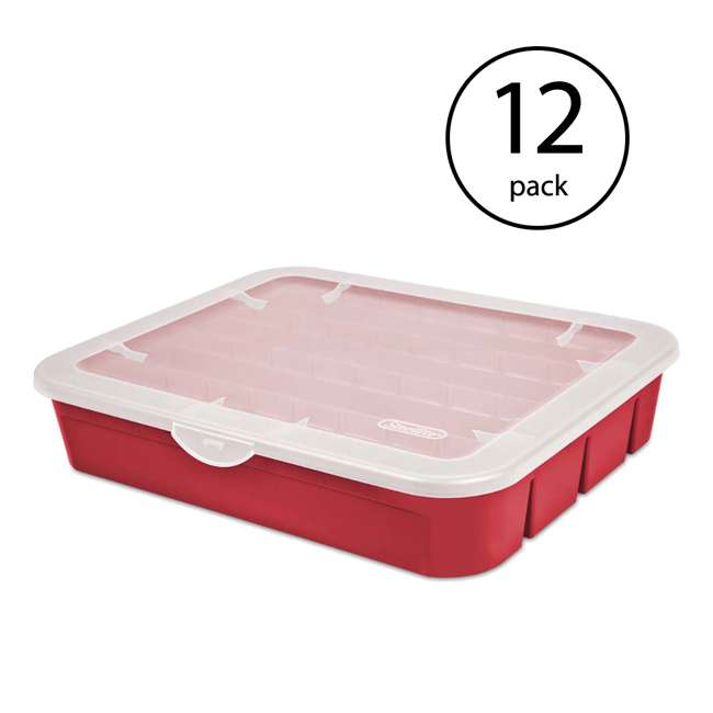 12 x 19796606 Sterilite Adjustable Ornament Storage Box, Red (12 Pack)