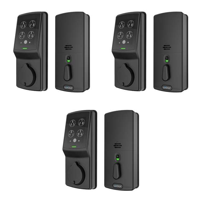 3 x PGD728FMB Lockly Secure Plus Digital Keypad Biometric Smart Deadbolt Door Lock, Black (3 Pack)