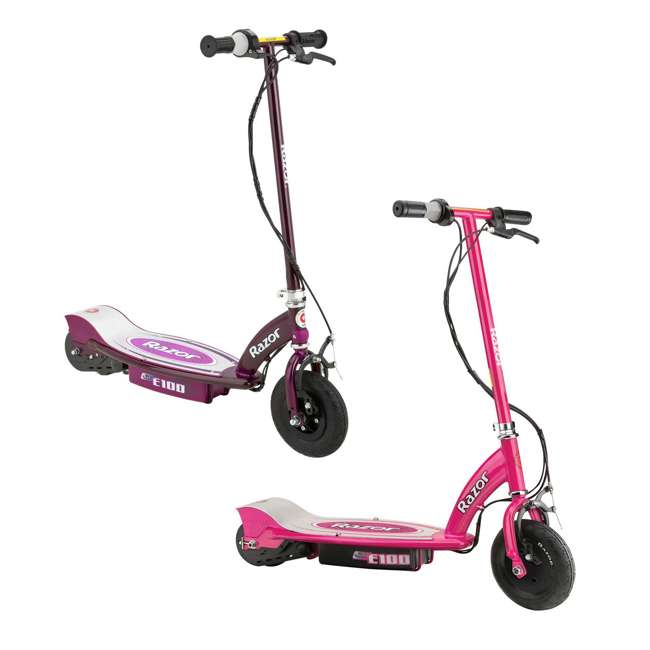 13111261 + 13111250 Razor E100 Kids Motorized 24 Volt Electric Powered Scooter, 1 Pink and 1 Purple